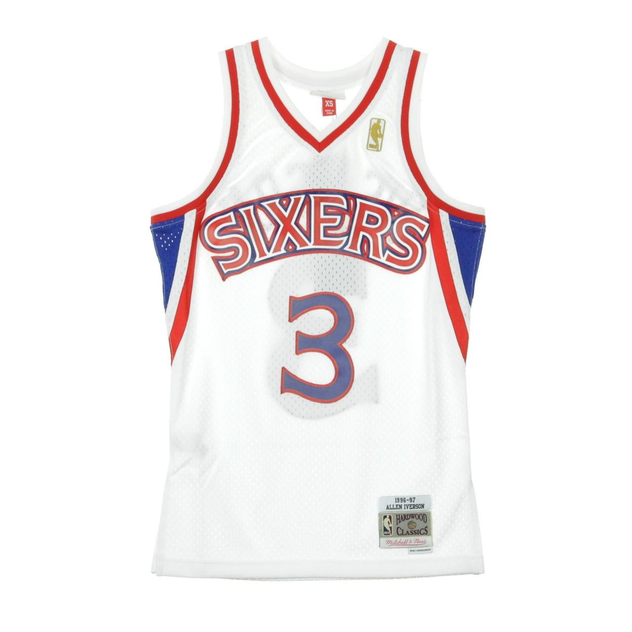 MITCHELL & NESS NBA SWINGMAN JERSEY HARDWOOD CLASSICS NO.3 ALLEN IVERSON 1996-97 PHI76E HOME SMJYGS18198-P76WHIT96AIV
