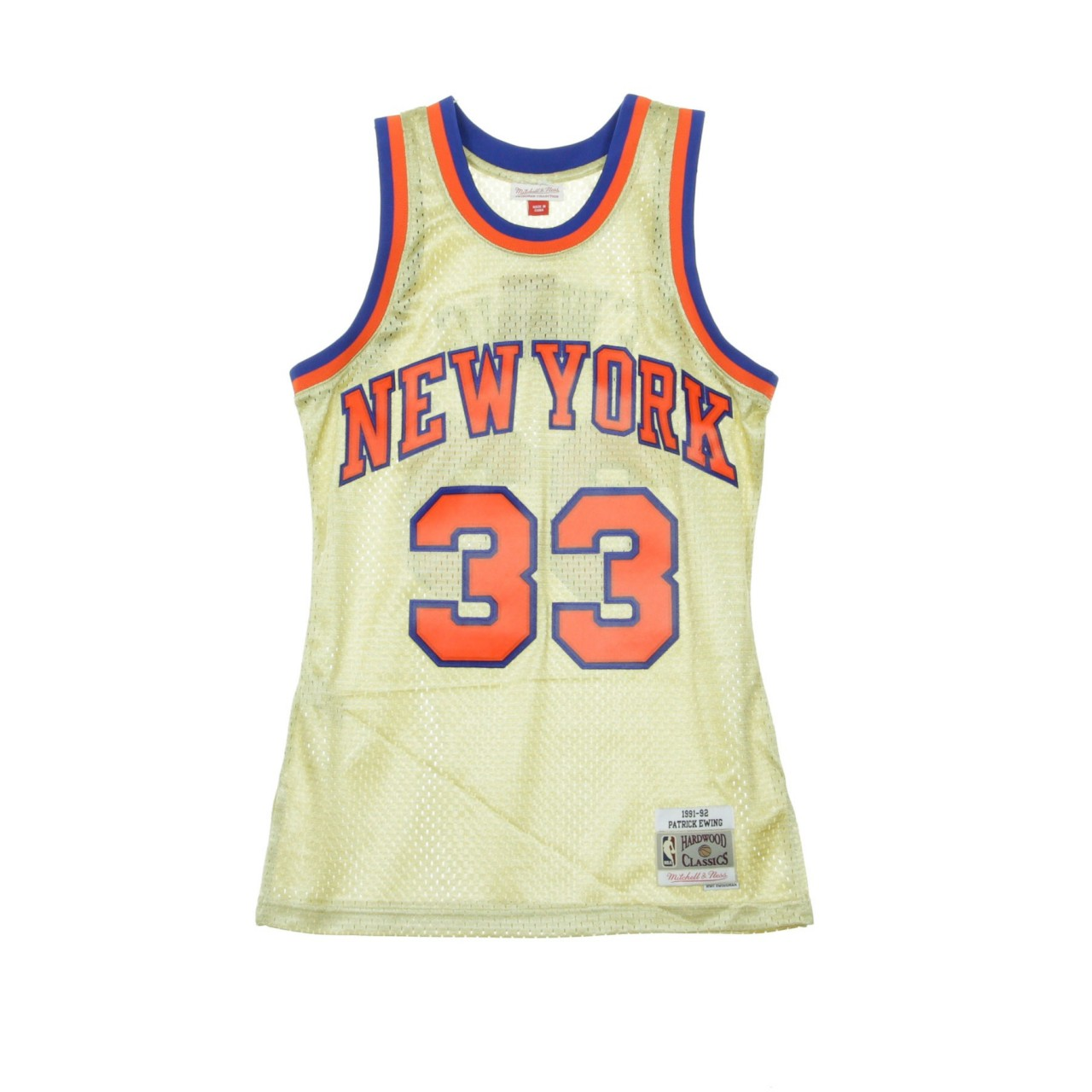 MITCHELL & NESS NBA SWIMGMAN JERSEY PATRICK EWING NO.33 1991-92 NEYKNI GOLD BA895H-NYK-D-L3R