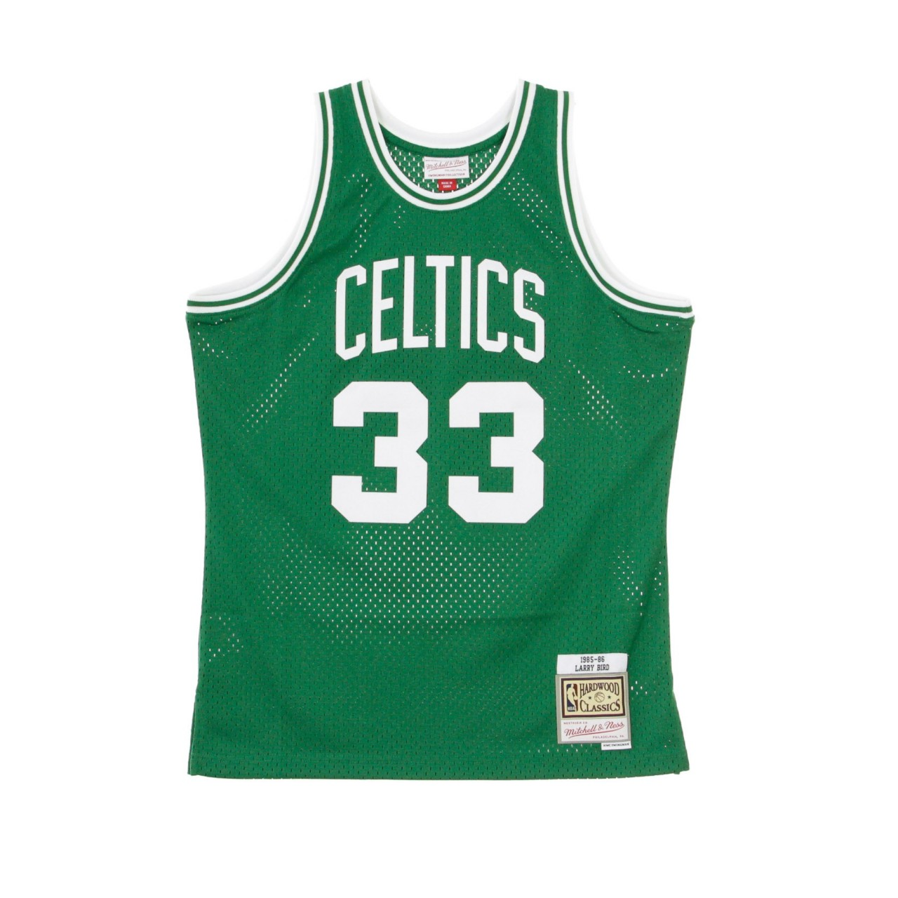 MITCHELL & NESS NBA SWINGMAN JERSEY LARRY BIRD NO.33 1985-86 BOSCEL ROAD SMJYGS18142-BCEKYGN85LBI