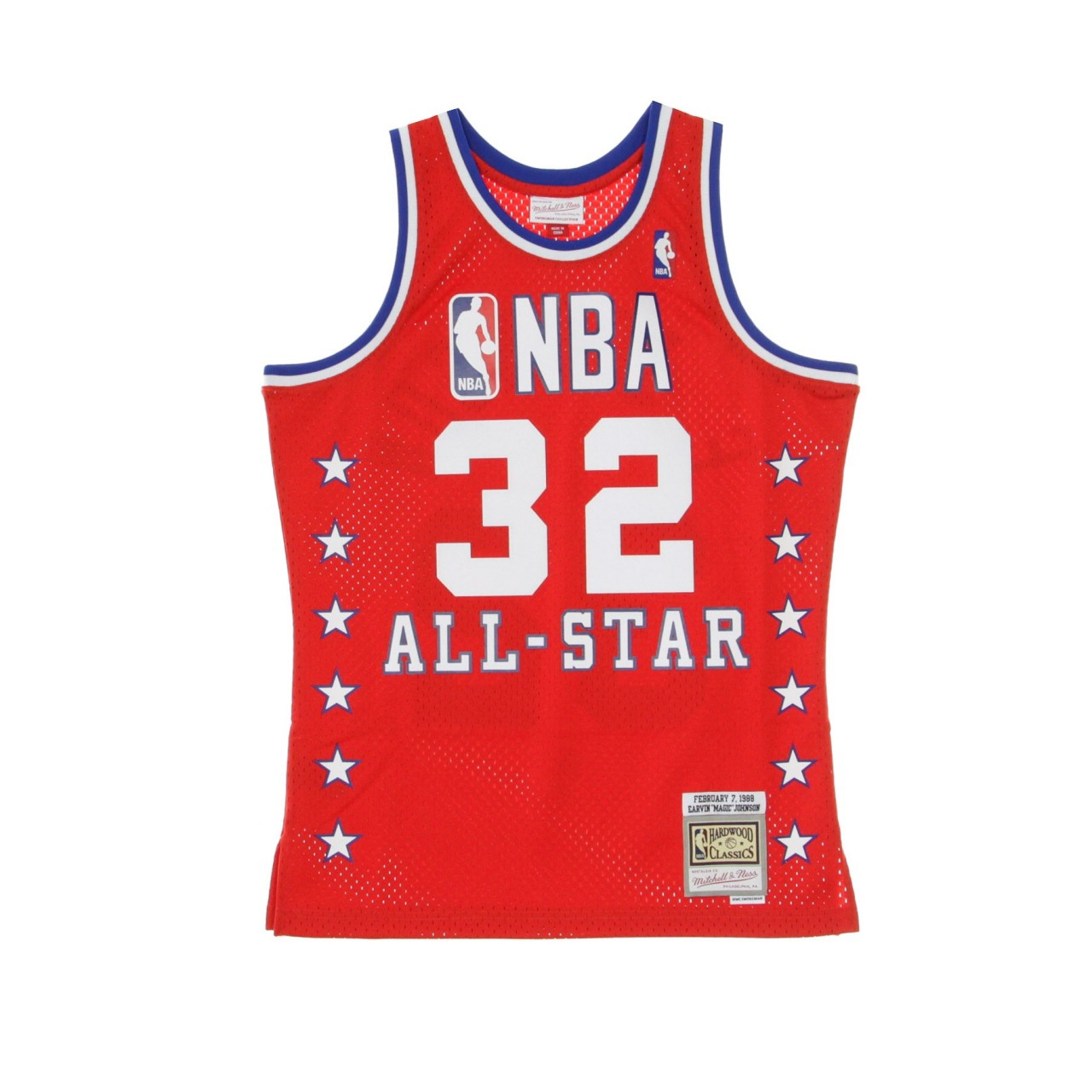 """MITCHELL & NESS NBA SWINGMAN JERSEY HARDWOOD CLASSICS NO 32 EARVIN """"MAGIC"""" JOHNSON ALL STAR GAME WEST 1988 SMJYCP19048-ASWRED188EJH"""