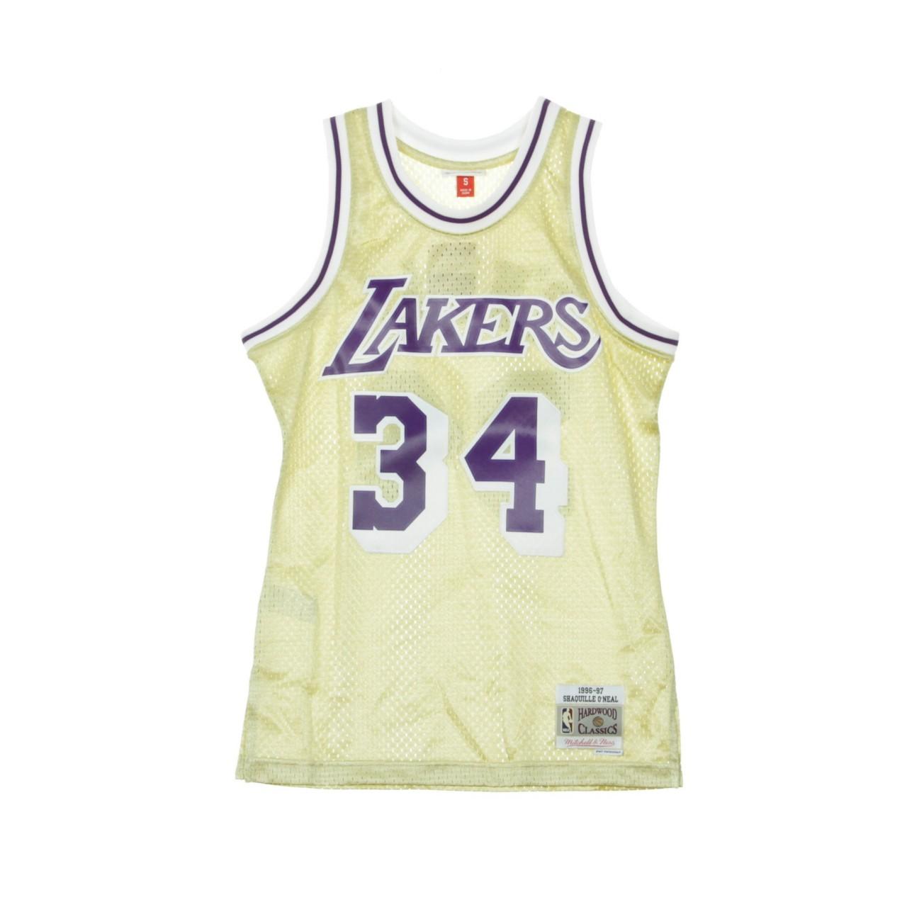MITCHELL & NESS NBA SWIMGMAN JERSEY SHAQUILLE O'NEAL NO.34 1996-97 LOSLAK GOLD BA897L-LAL-D-L6G