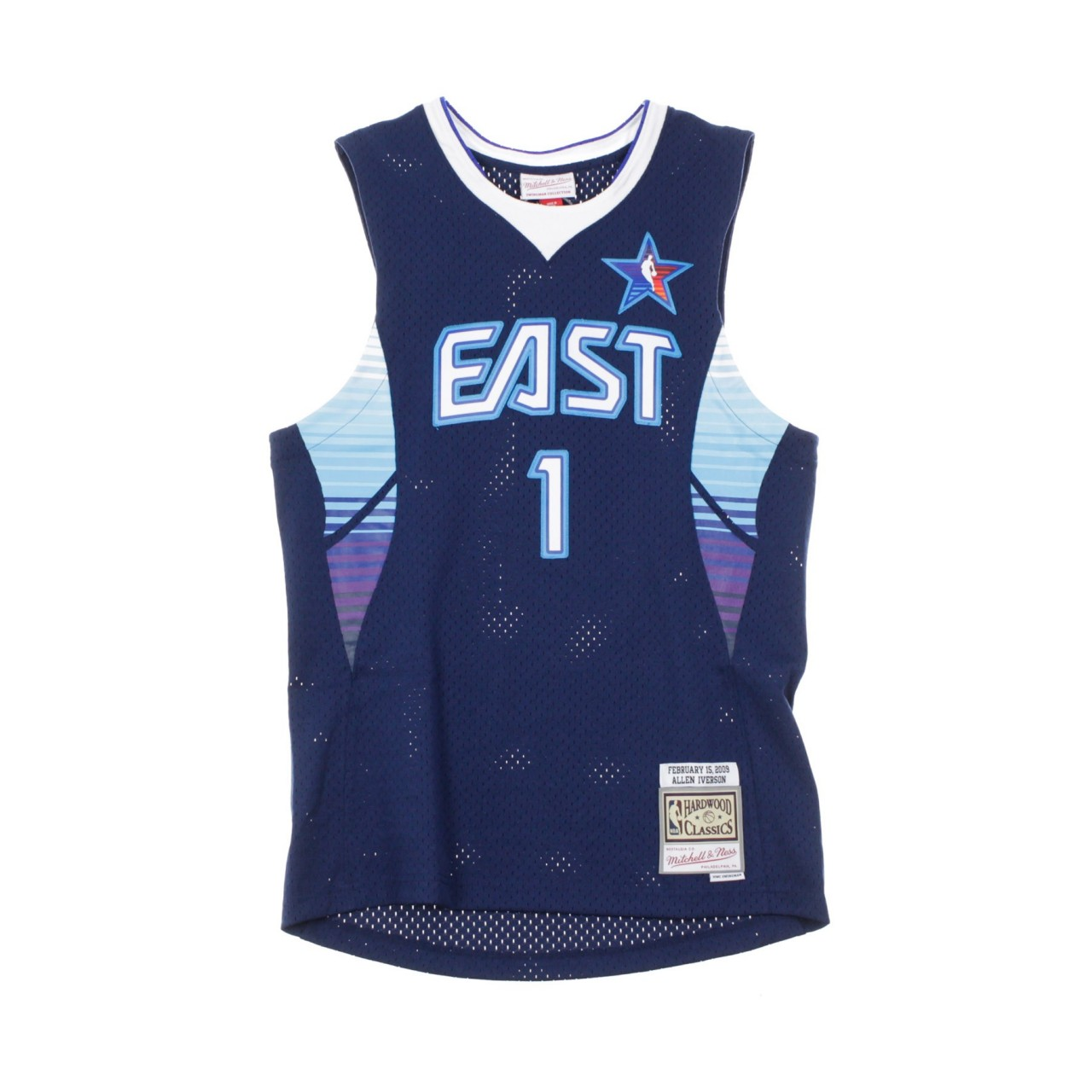 MITCHELL & NESS NBA SWINGMAN JERSEY ALLEN IVERSON NO.1 ALL STAR GAME EAST 2009 SMJYEL18014-ASENAVY09AIV